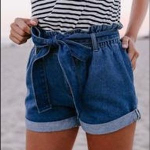 Pants - Pocketed Paper Bag Waist Denim Shorts